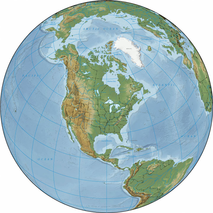 Relief Map Of North America North America Terrain Map