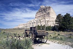 pioneer wagon on the Oregon Trail, Nebraska, USA