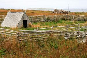 Viking village reconstruction, L'Anse aux Meadows, Newfoundland, Canada